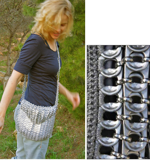 Daryl Modeling a Chain Mail Purse Made from Aluminum Can Pull Tops